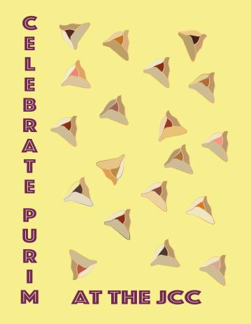 Mock up poster for the JCC's Purim festivities.